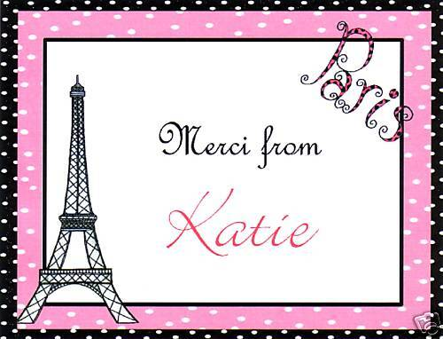 Personalized Paris Thank you note Cards~Eiffel Tower