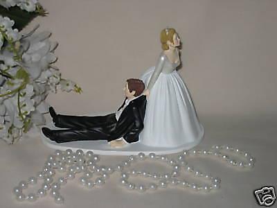 Bride Dragging Groom - Wedding Party Reception ~Bride Dragging Groom to Alter~  Funny Cake Topper