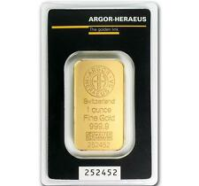 1 oz Gold Argor Heraeus .9999 Gold Bar in Sealed Assay Card #A314