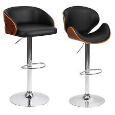 Barstool Chair Walnut Bentwood Faux PU Leather Swivel Barstools Breakfast Stool