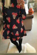 Black Striped Floral Skull halloween Swing Dress Want That Trend