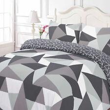 Duvet Cover Pillow Case Geometric Shapes Black Grey White Reversible Bedding Set